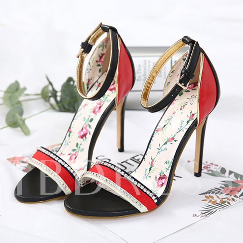 Color Block Buckle Slim Heel Sandals