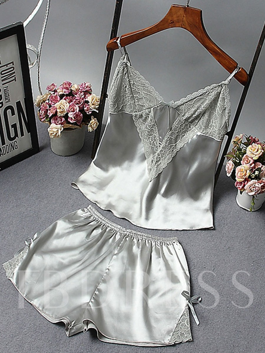 Summer Bowknot Sleeveless Shorts Pajamas Suit