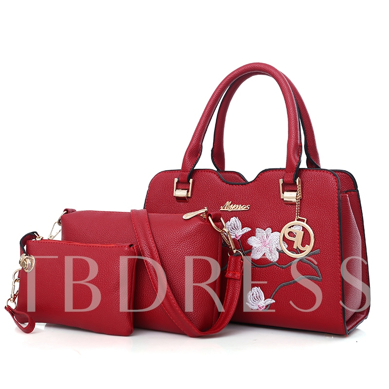 Floral Embossing PU Women Bag Set ( 3 Bag Set)