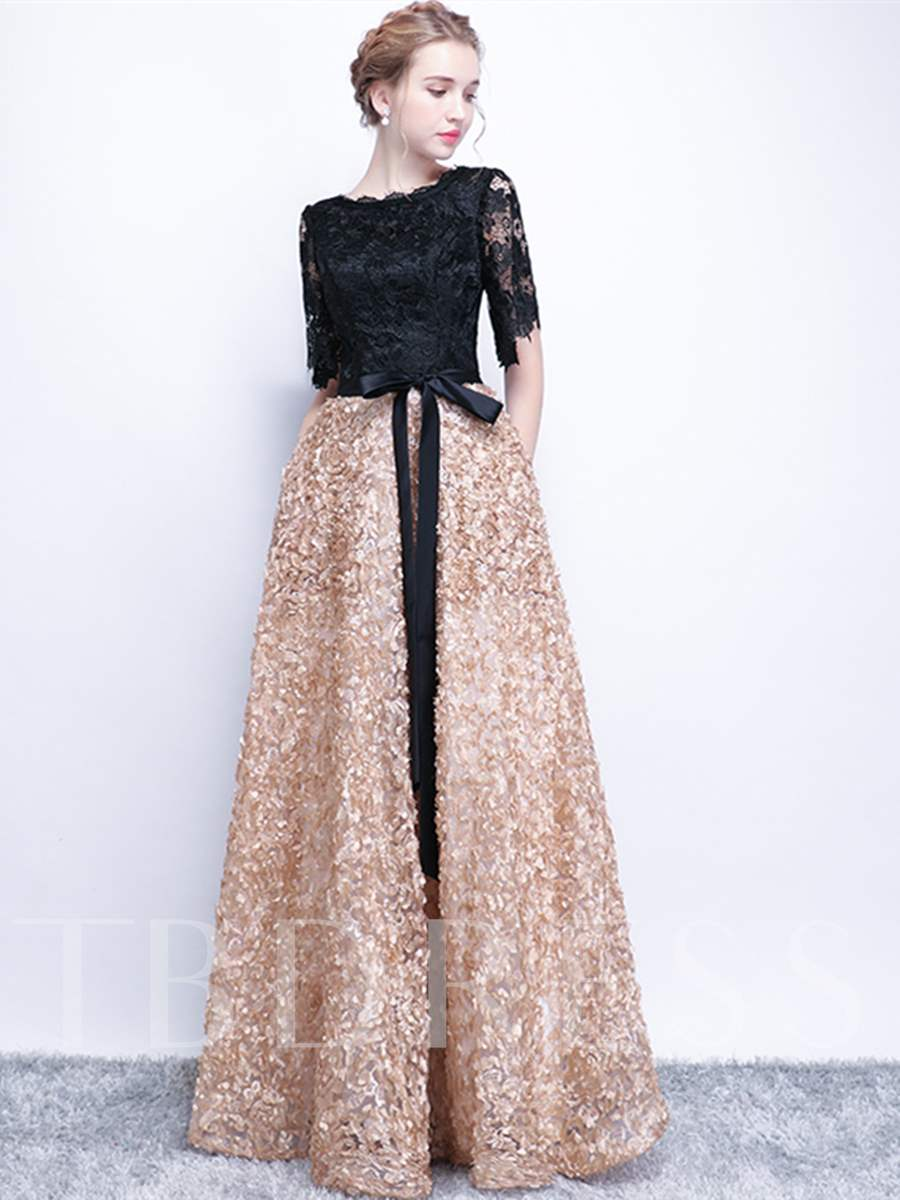 Buy A-Line Half Sleeves Lace Sashes Evening Dress, Spring,Summer,Fall,Winter, 13197506 for $153.24 in TBDress store