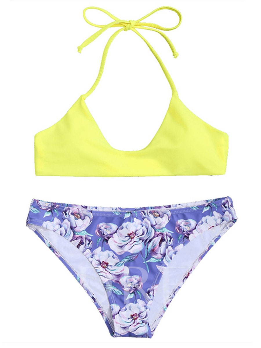 Halter Floral Triangle Women's Bikini Set