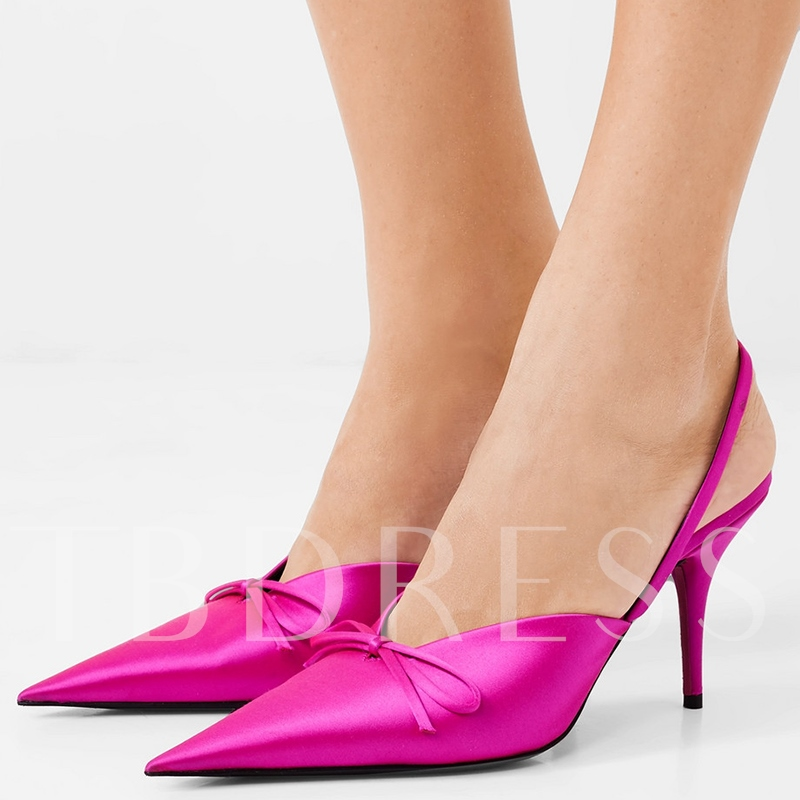 Pointed Toe Slingback Strap Rose High Heels