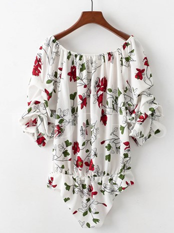 Sexy Floral Hollow Women's Romper