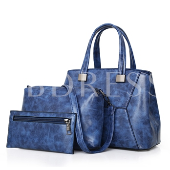 Casual Plain PU Zipper Women Handbag ( 3 Bag Set)