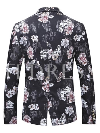 Floral Print One Button Men's Luxury Blazer