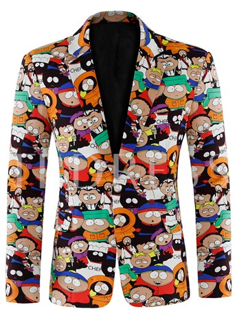 Cartoon Print One Button Men's Leisure Blazer