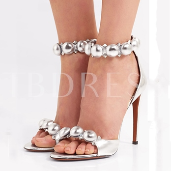 Silver Heel Covering Open Toe Sandals for Women