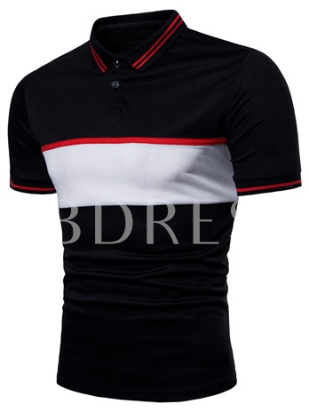 Lapel Color Block Slim men's Polo