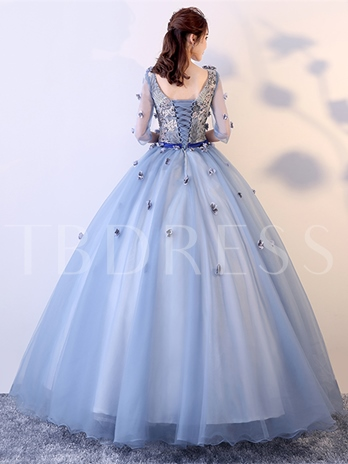 V-Neck Flowers Pleats Sashes Quinceanera Dress