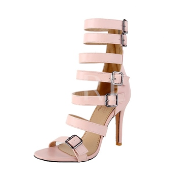 Strappy Buckle Back Zipper High With Shoes Women's Sandals