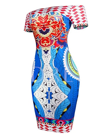 Off Shoulder Dashiki Pattern Women's Bodycon Dress