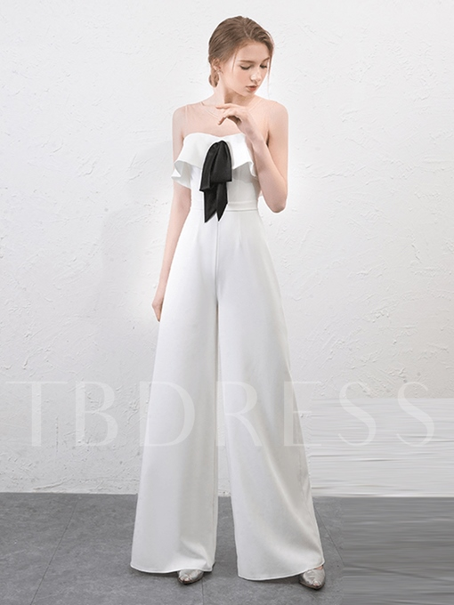 Scoop A-Line Pick-Ups Sashes Evening Jumpsuits