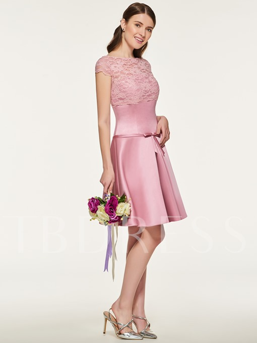 Bateau Neck Lace Cap Sleeve Bridesmaid Dress