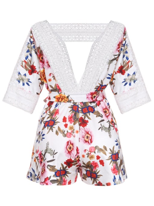 V-Neck Floral Print Lace-Up Women's Rompers