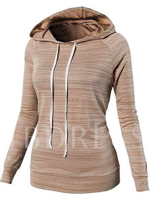 Long Sleeve Plain Women's Stripe Hoodie