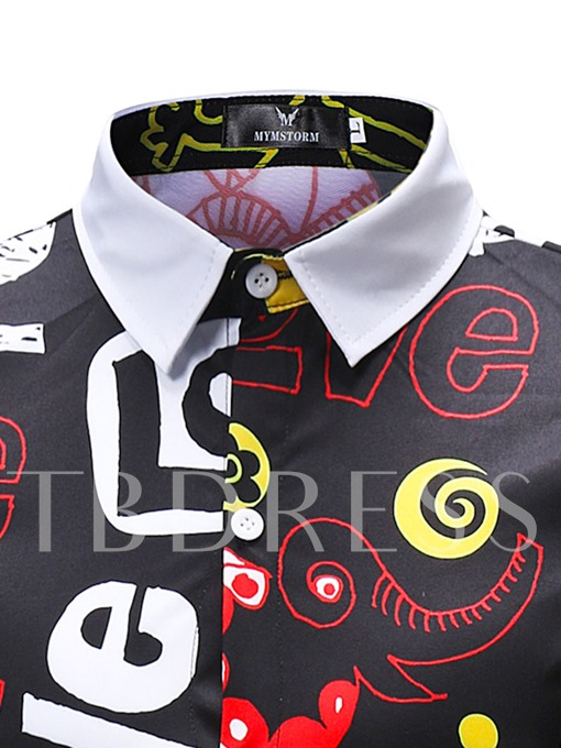 Lapel Letter Print Color Block Men's Shirt
