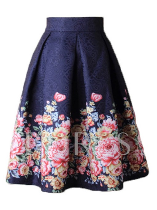 Floral High Waist Women's Ball Gown Skirt