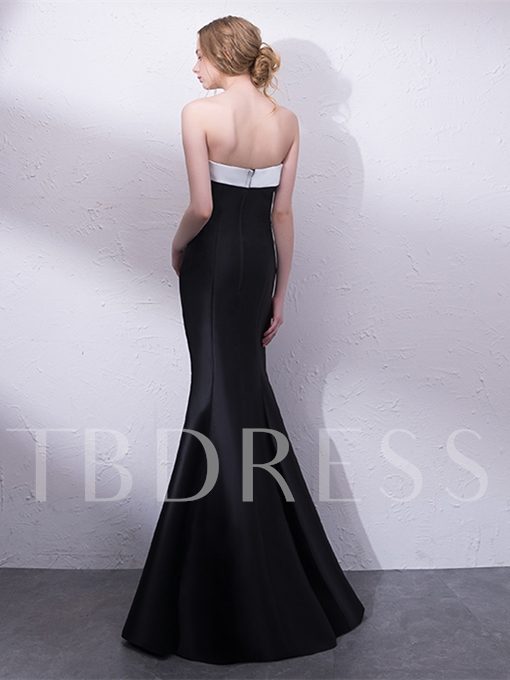 Strapless Mermaid Crystal Evening Dress
