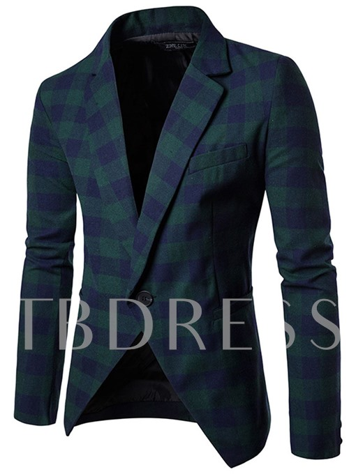 Plaid Lapel One Button Color Block Casual Men's Blazer