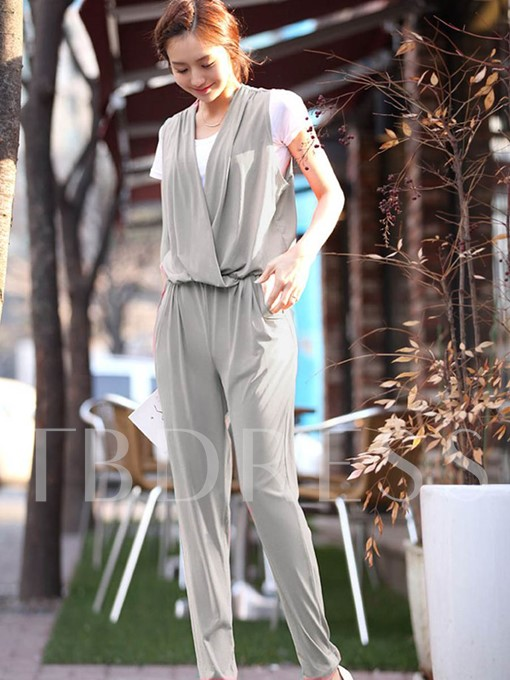 Pleated Pocket Harem Pants Women's Jumpsuit