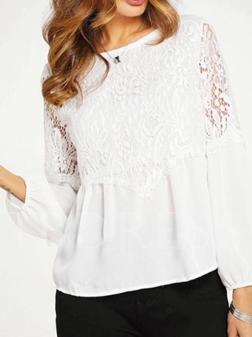 Lace Patchwork Women's Casual Loose Top Blouse