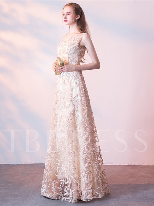 A-Line Lace Scoop Evening Dress