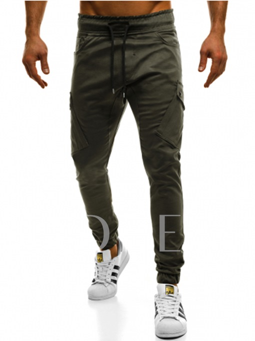Lace-up Solid Color Slim Men's Pants