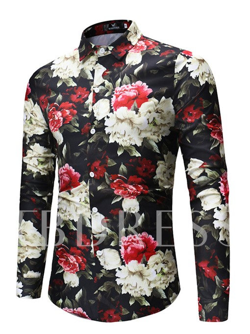 Lapel Floral Print Plain Men's Shirt