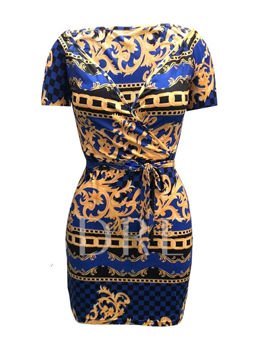Short Sleeve Lace up Printing Women's Bodycon Dress