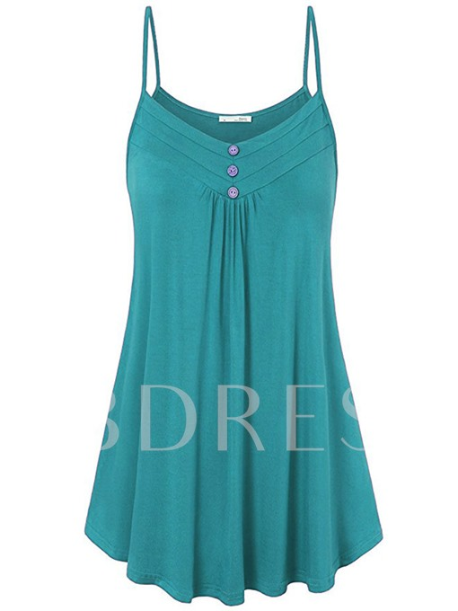 Basic Solid Color Button Women's Tank Top