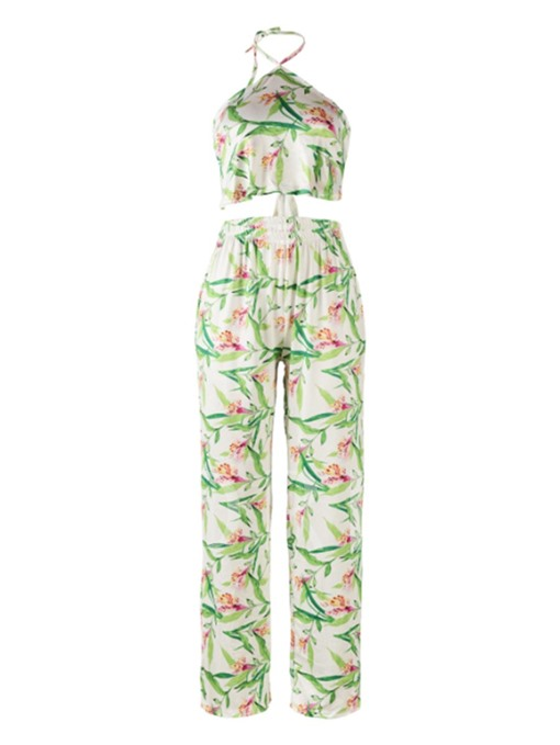 Sexy Plant Print Halter Women's Two Piece Set