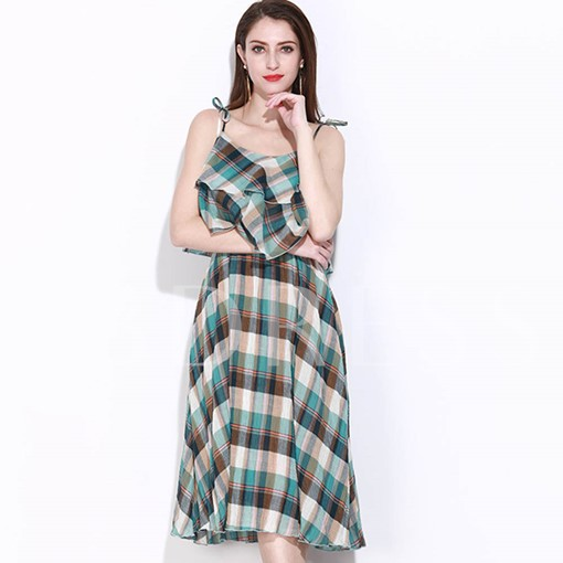 Adjustable Shoulder Straps Plaid Women's Day Dress