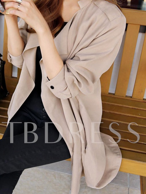 Long Sleeve Open Front Women's Trench Coat