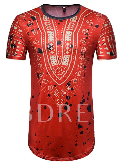 Dashiki Long Pattern Slim Men's Short Sleeve T-Shirt