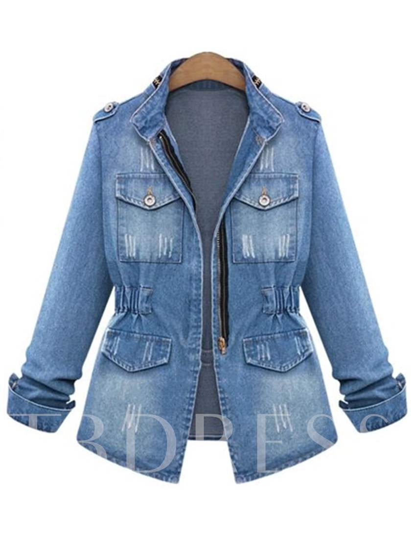 Plus Size Stand Collar Tight Waist Women's Denim Jacket