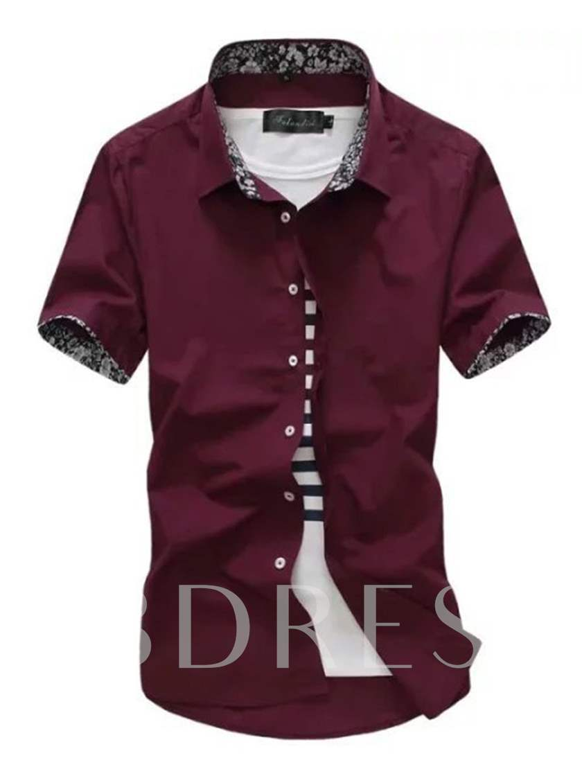 Lapel Color Block Slim Fit Short Sleeve Men's Shirt