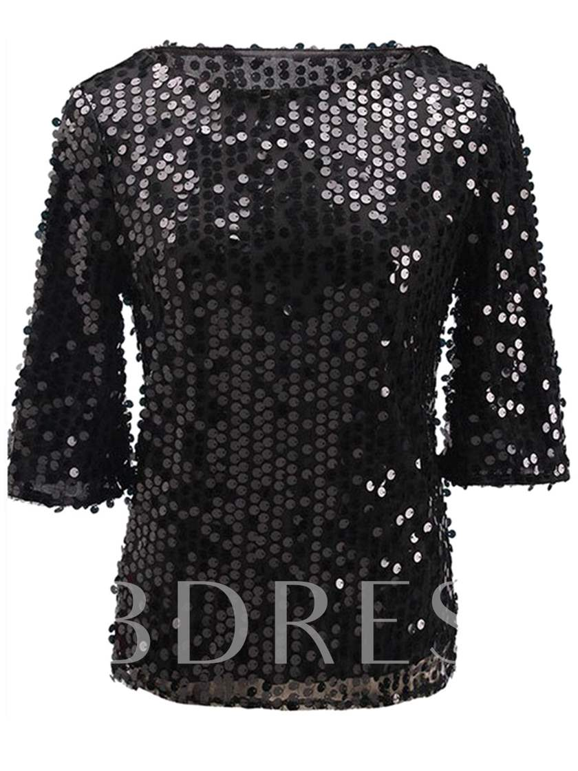 Sequins Slim Fit Women's Blouse For Club