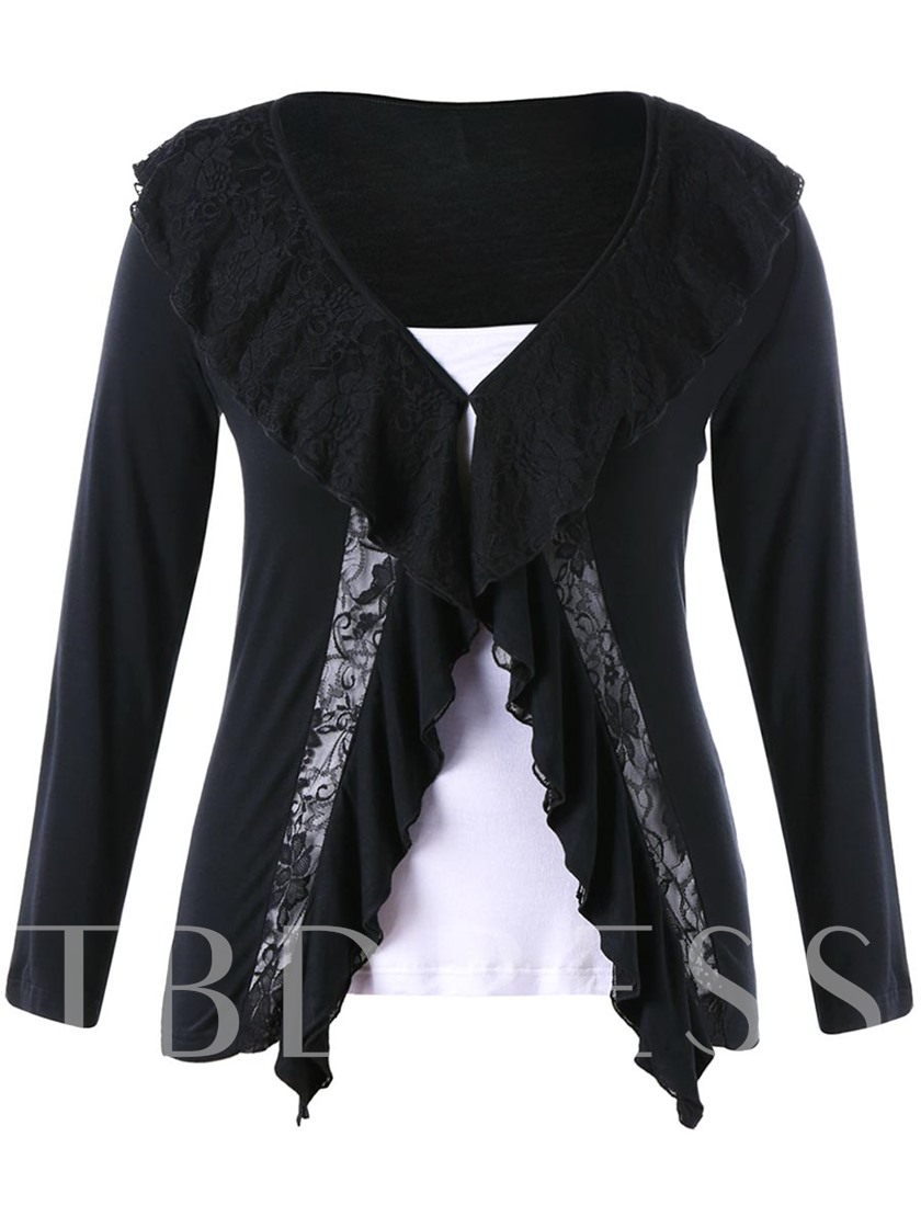 Plus Size Women's Blouse With Falbala And Lace