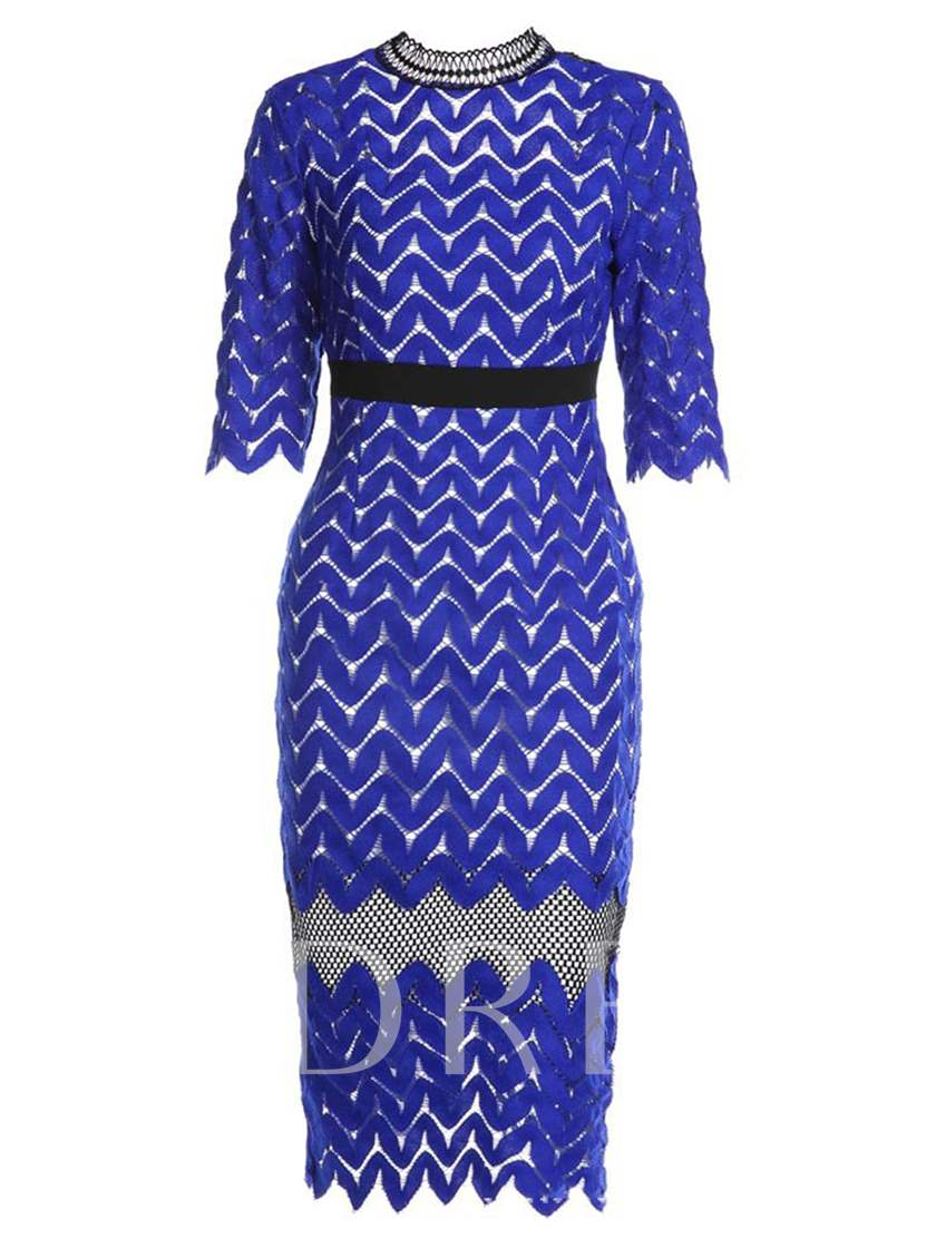 High-Neck Slim Lace Women's Bodycon Dress