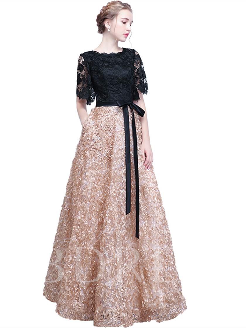 A-Line Half Sleeves Lace Sashes Evening Dress
