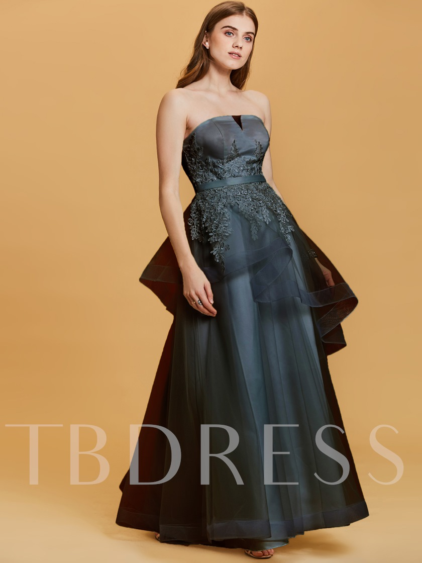 Strapless Lace Appliques A Line Evening Dress