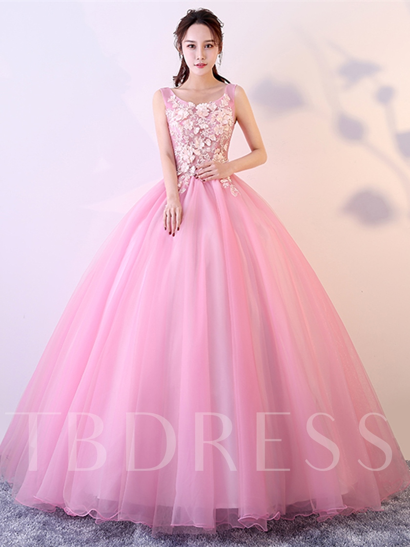 Scoop Appliques Quinceanera Dress