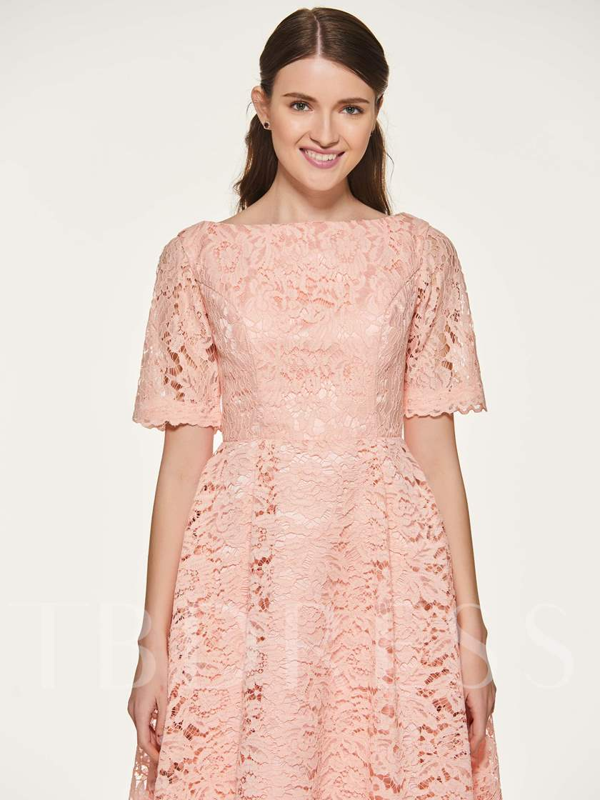 Short Sleeves Tea-Length Lace Bridesmaid Dress
