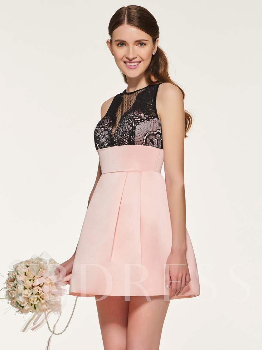 Lace Top Empire Waist Short Bridesmaid Dress