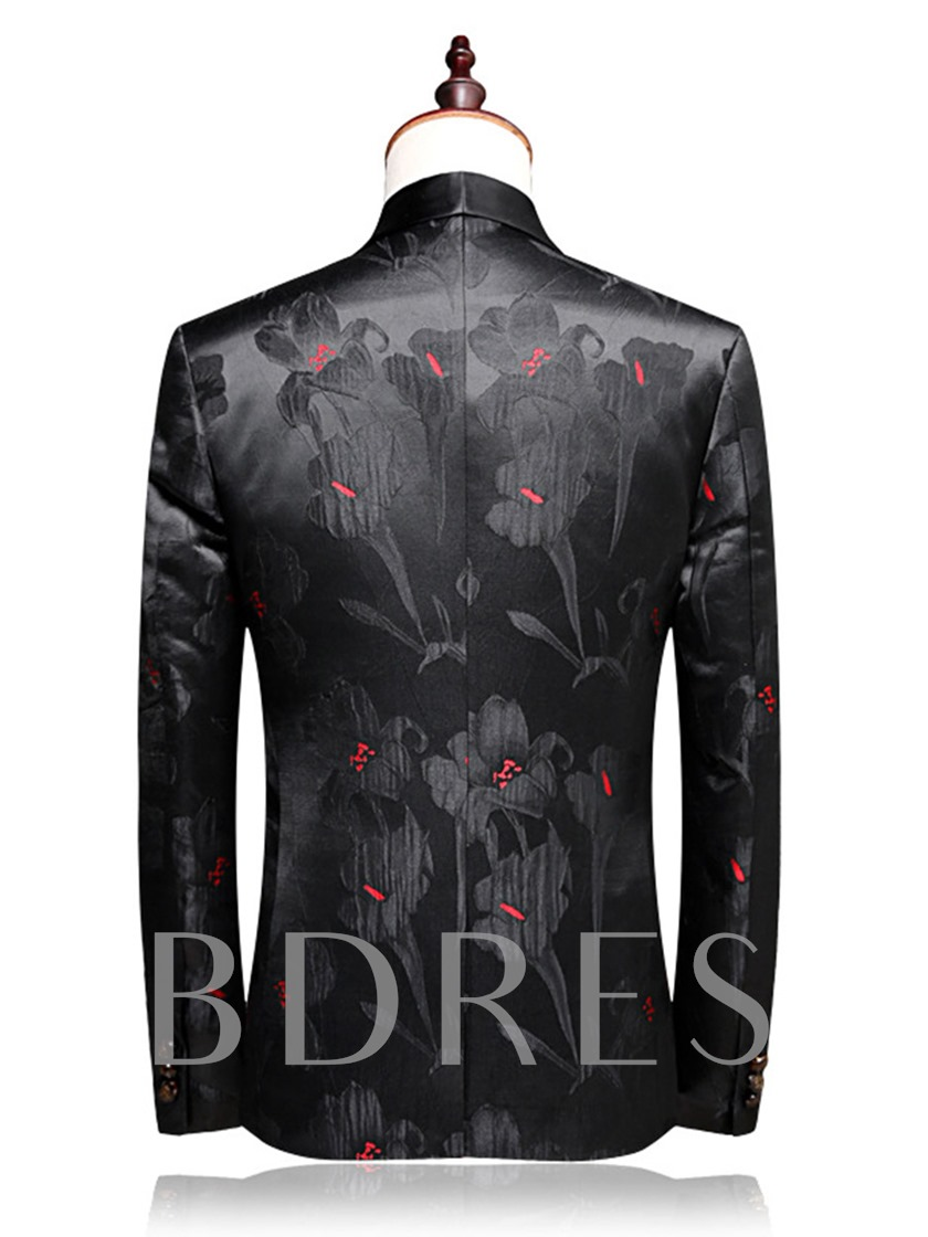 Notched Collar Floral Print Men's Dress Suit