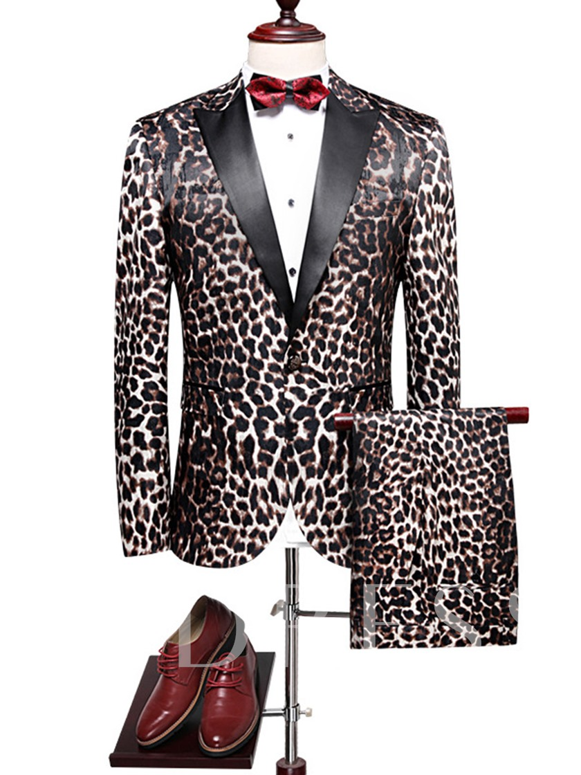 Leopard Print Notched Collar Men's Dress Suit