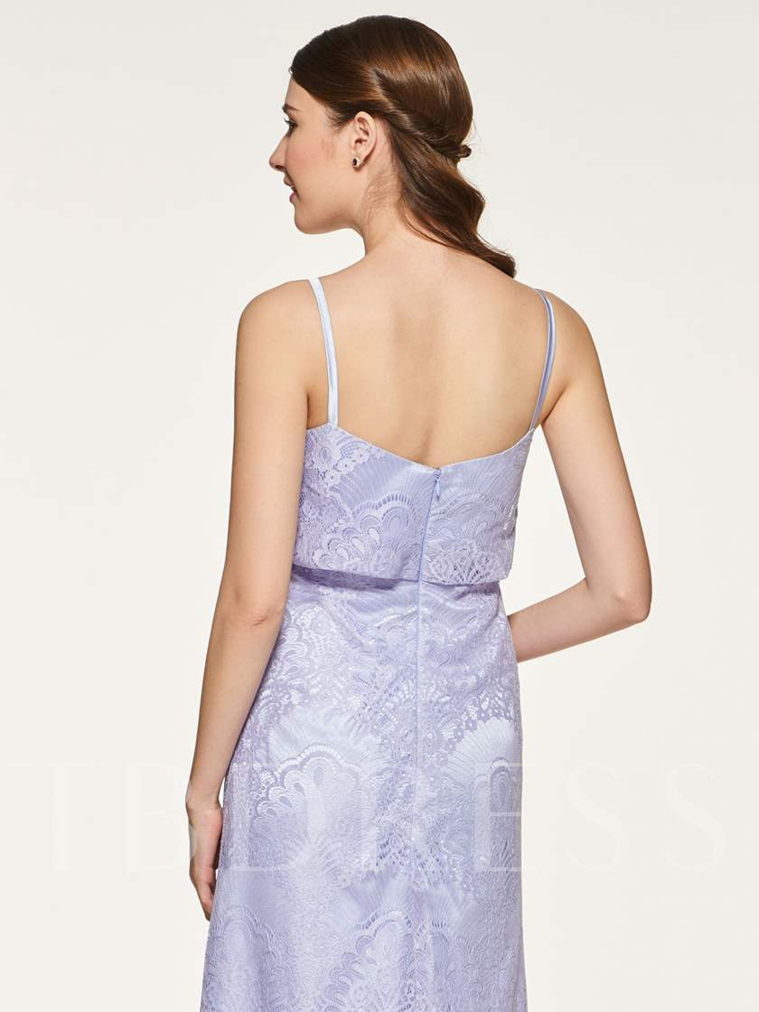 Spaghetti Straps Lace Bridesmaid Dress