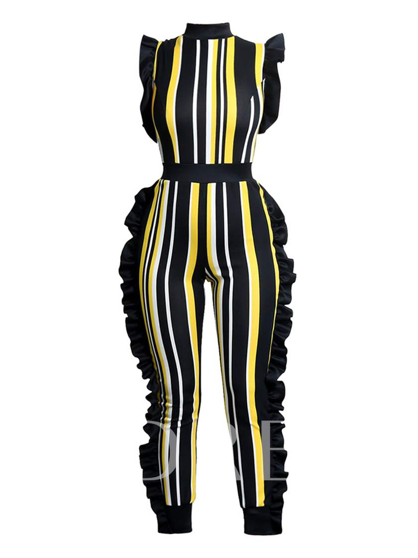 Stripe Asymmetrical Falbala Color Block Women's Jumpsuit