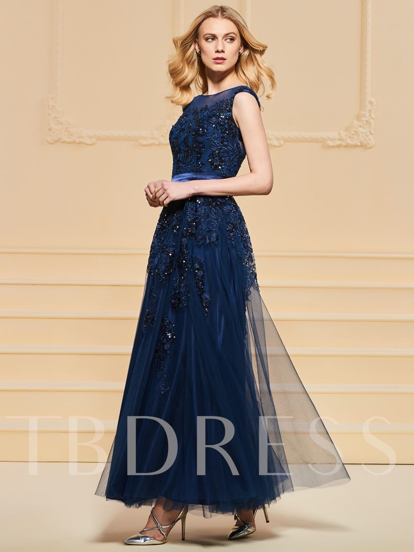 A-Line Button Bowknot Lace Sashes Evening Dress