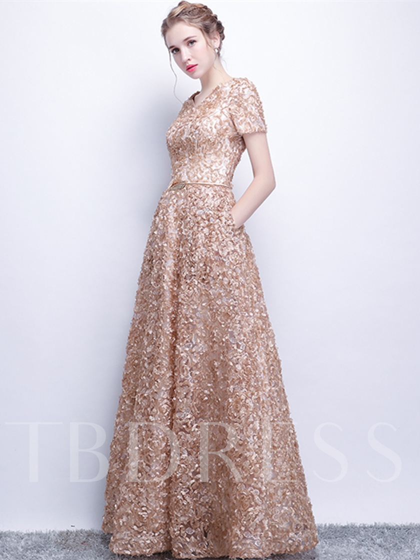 A-Line Lace Sashes Scoop Evening Dress